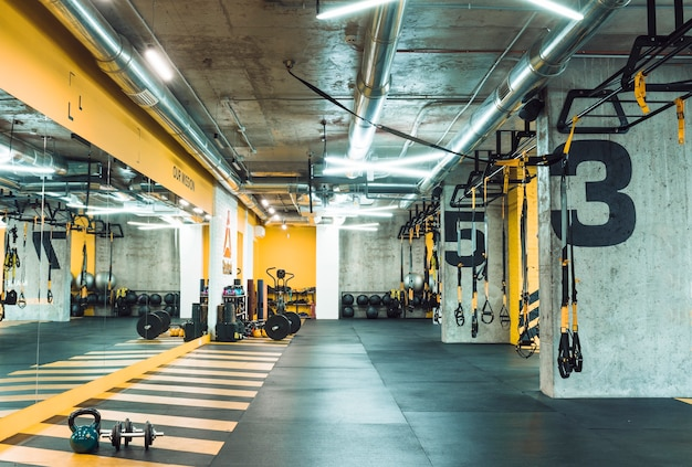 Fitness club with equipments Free Photo