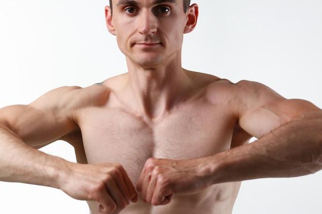 Fitness man background shoulder biceps Premium Photo