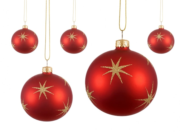 Dunkelrote Christbaumkugeln.Five Christmas Balls Photo Free Download