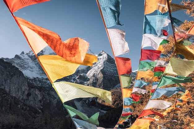 Five color prayer flags flying with xiannairi mountain in autumn forest. yading nature reserve Premium Photo