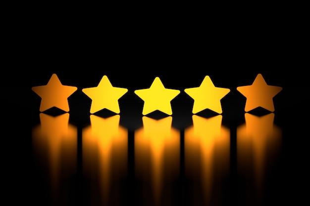 Five golden stars over shiny reflective surface on black Premium Photo