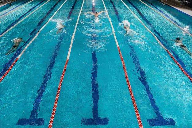 Cinque nuotatori che corrono uno contro l'altro in una piscina Foto Gratuite