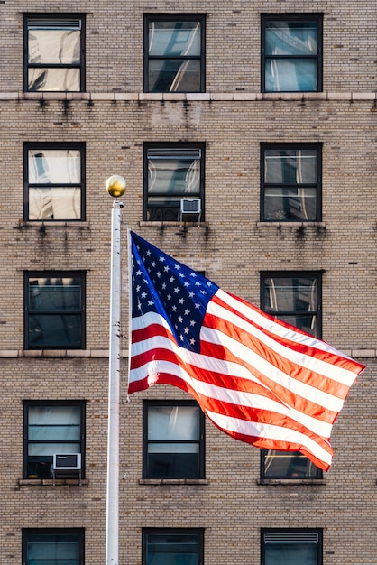 Flag of america flying in wind Free Photo