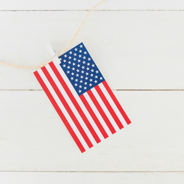 Flag of america on rope Free Photo