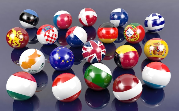 Flag balls of european countries, 3d rendering Premium Photo