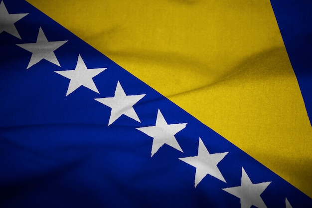 Flag of bosnia and herzegovina Premium Photo