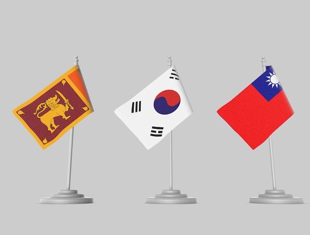 Flag collection - sri lanka, japan, korea Premium Photo