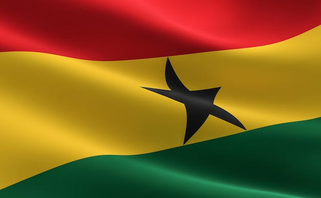 Flag of ghana. 3d illustration of the ghana flag waving. Premium Photo