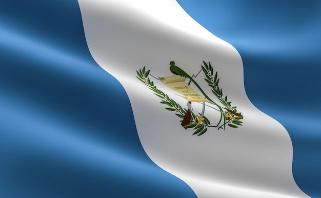Flag of guatemala. 3d illustration of the guatemala flag waving. Premium Photo