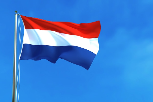 Flag of netherlands on the blue sky background 3d rendering Premium Photo