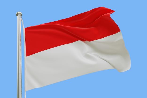 Флаг индонезии на флагштоке развевался на ветру, изолированных на синем фоне Premium Фотографии