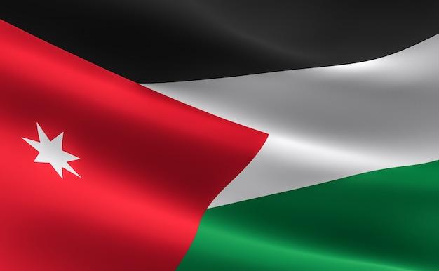 flag of jordan 3d illustration of the jordanian flag waving photo