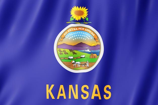 Флаг штата канзас, штат сша. 3d иллюстрации флаг канзаса размахивая.    Премиум Фото