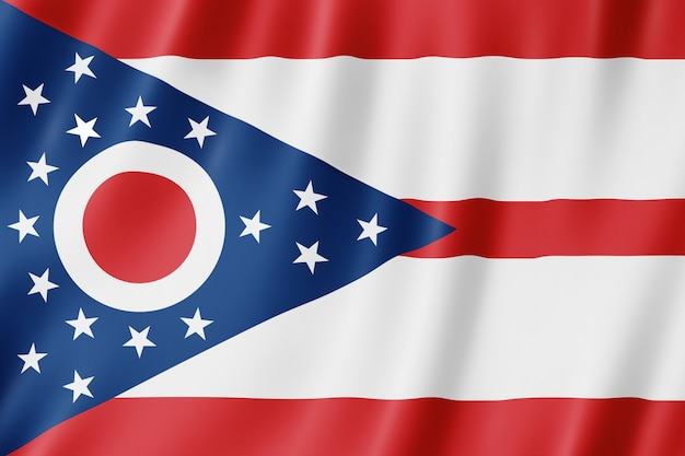 Flag of ohio, usa. 3d illustration of the ohio flag waving. Premium Photo