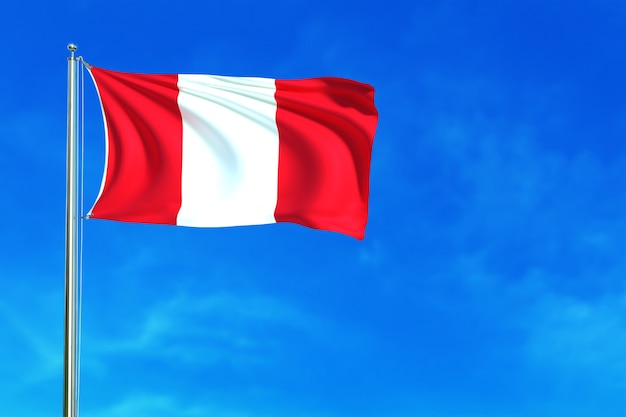 Flag of peru on the blue sky background 3d rendering Premium Photo