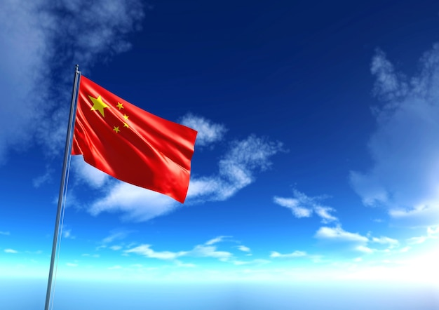Flag of republic of china under blue sky, 3d rendering Photo