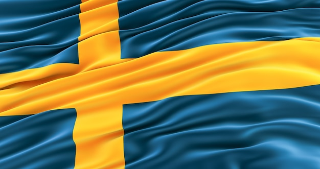 Flag of sweden, sweden waving flag. swedish background Premium Photo