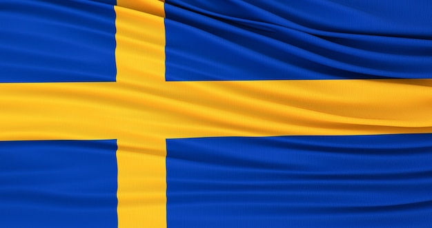 Flag of sweden, sweden waving flag. swedish background Premium Photo