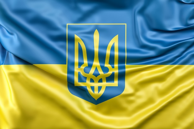 Flag of ukraine with coat of arms Free Photo