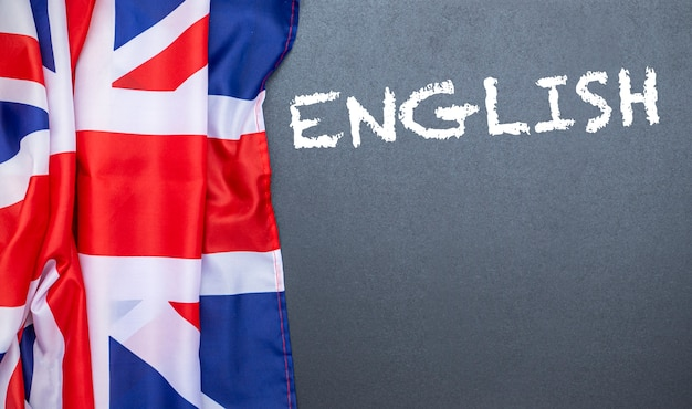 Flag of the united kingdom on blackboard, concept picture about education, school and english language Premium Photo