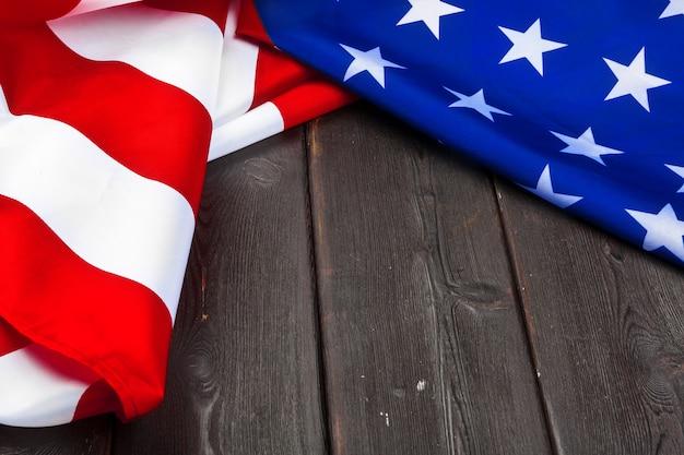 Flag of the united states of america on wood Premium Photo