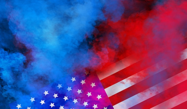 Flag usa wall design for independence, veterans, labor, memorial day. colorful smoke on black wall Premium Photo