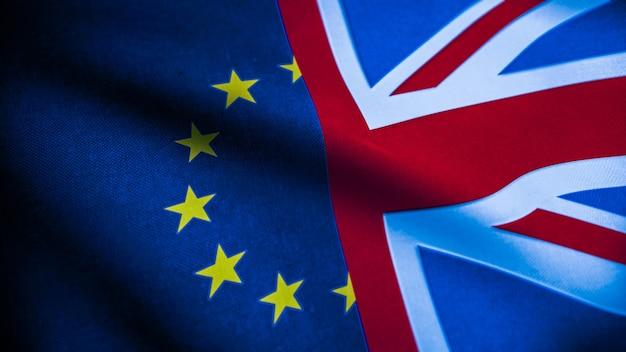 Флаги соединенного королевства и европейского союза. концепция brexit. флаг великобритании и евро. 3d-рендеринг. Premium Фотографии