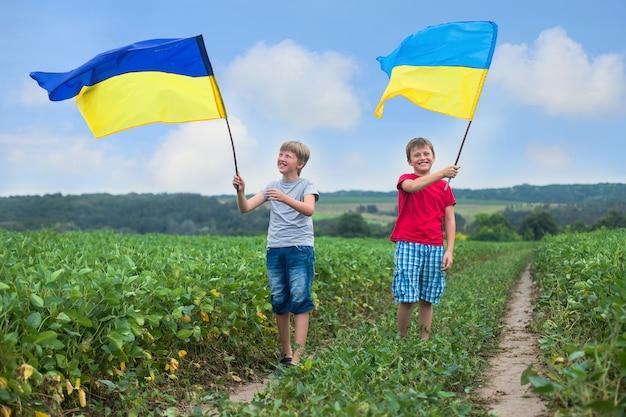 Флаги украины в руках мальчиков. дети держат украинские флаги желтого и синего цвета, развевающиеся на ветру. день независимости украины. день флага. Premium Фотографии