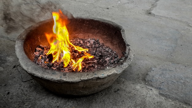 The flame burning paper. according to the beliefs of china. Premium Photo