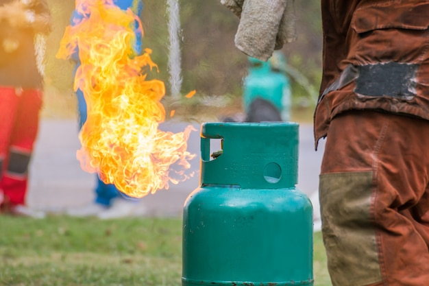 Flame coming out from a gas bottle Premium Photo