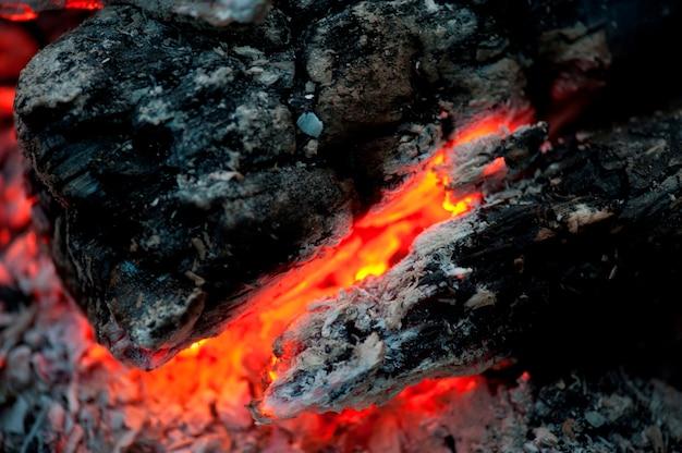 Flame and hot coals, lake of the woods, ontario, canada Premium Photo