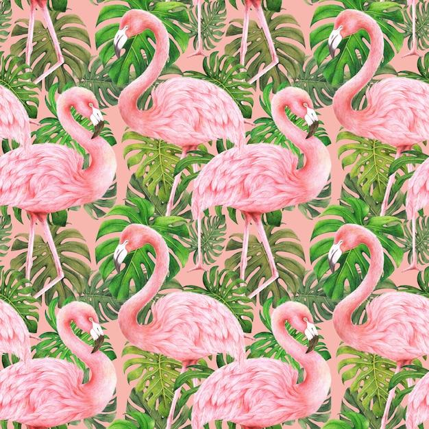 フラミンゴとモンステラの葉ピンクの背景にシームレスパターン Premium写真