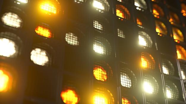 깜박이는 벽 조명. 번쩍이는 불빛 클럽과 디스코를위한 손전등. 나이트 클럽 할로겐 램프. 프리미엄 사진