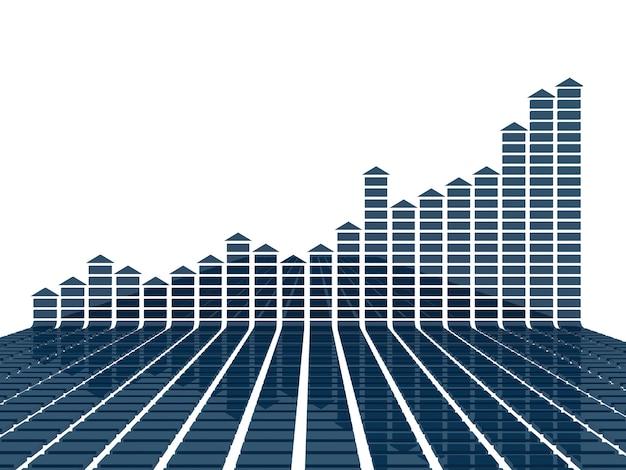 平らな青の3dグラフ統計 Premium写真