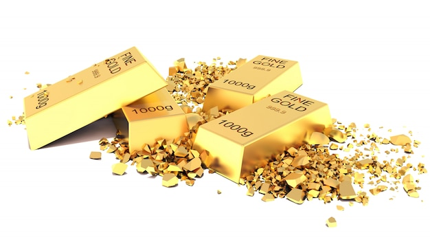 Плоские золотые слитки на белом фоне Premium Фотографии