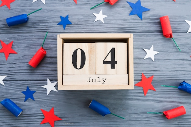 Flat lay of 4th of july frame Free Photo