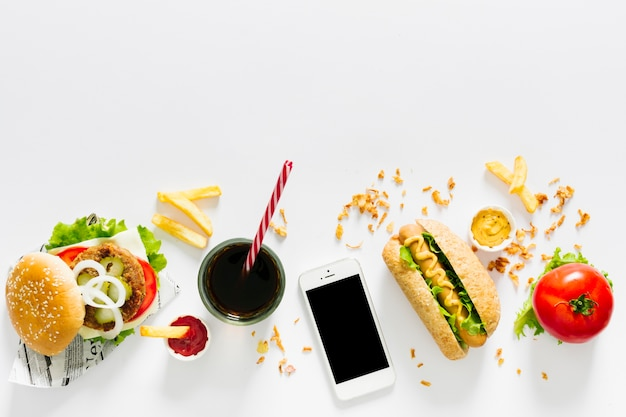 Flat lay american food concept with copyspace Free Photo