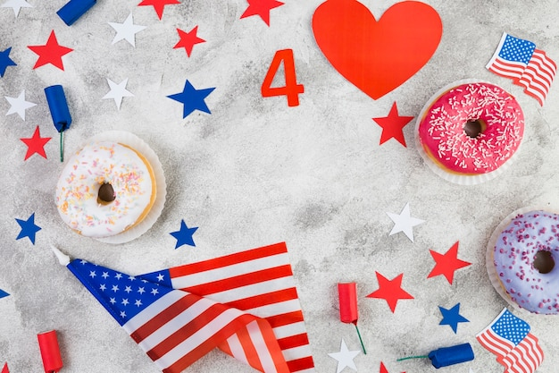 Flat lay of american independence day attributes Free Photo