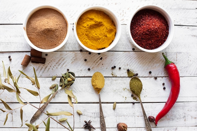 Flat lay aromatic asian spices Free Photo