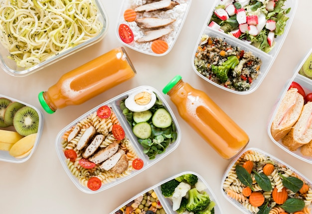 Flat lay arrangement nourishing meal Premium Photo