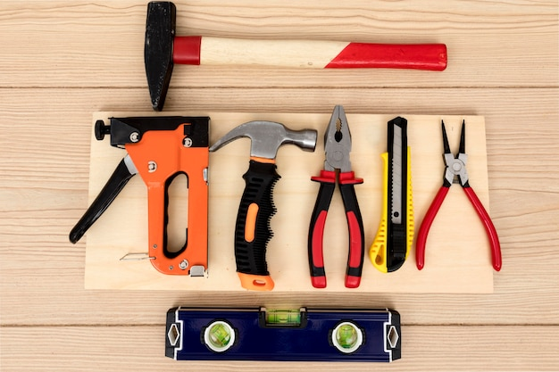 Flat lay arrangement of tools for carpentry Free Photo