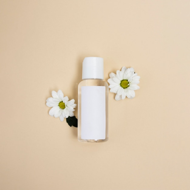 Flat lay arrangement with bottle and daisies Free Photo