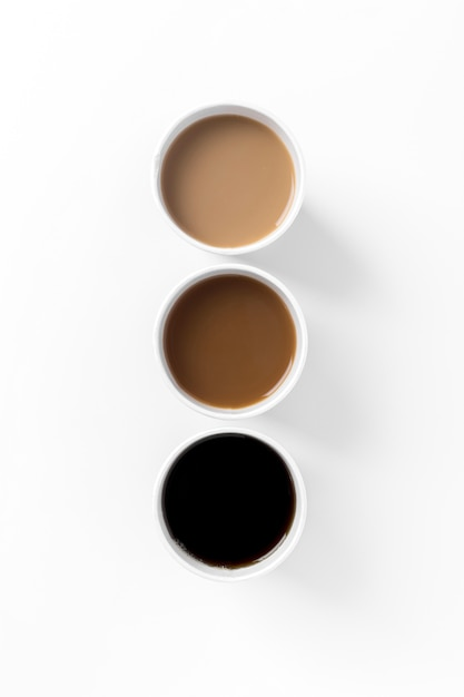 Flat lay arrangement with different types of coffee Free Photo