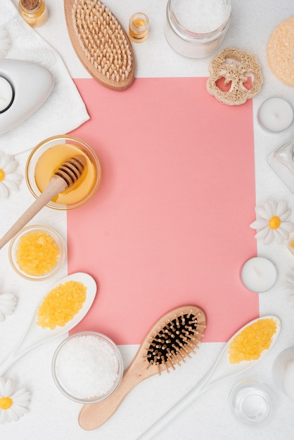 Flat lay arrangement with healthcare products and copy-space Free Photo