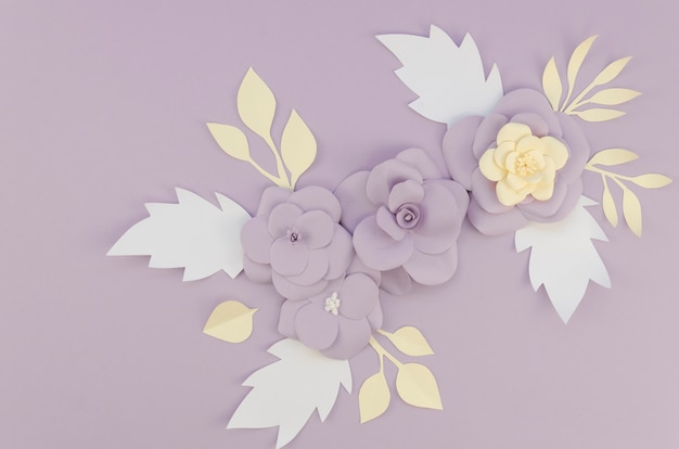 Flat lay arrangement with spring paper flowers Free Photo