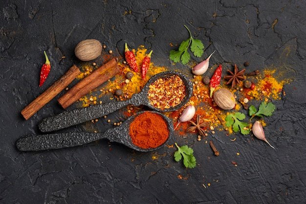 Flat lay asian food spices mix Free Photo