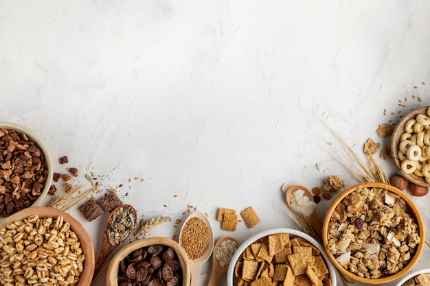 Flat lay of assortment of breakfast cereals with copy space Free Photo