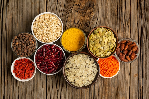 Flat lay of assortment of spices Free Photo