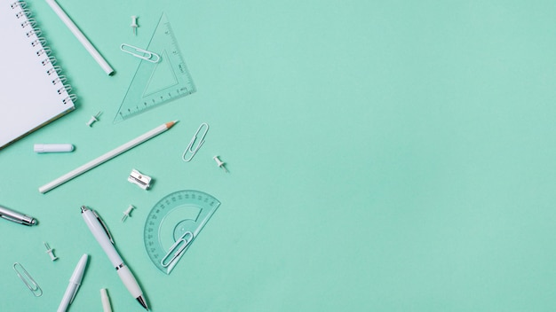 Flat lay of back to school concept with copy space Premium Photo