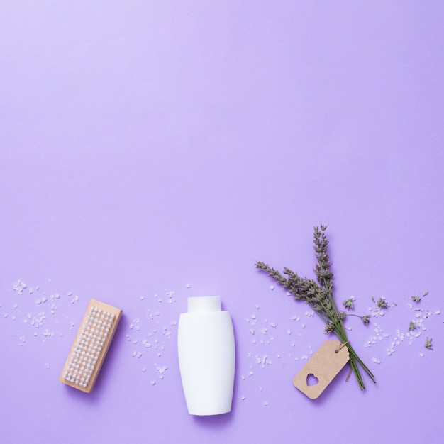 Flat lay bath composition with copy-space Free Photo